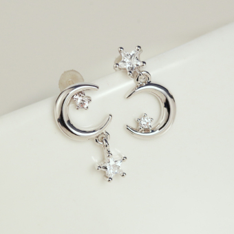 S925 asymmetrical pure silver needle stud