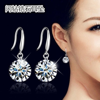 S925 elegant artificial zircon stud crystal earrings