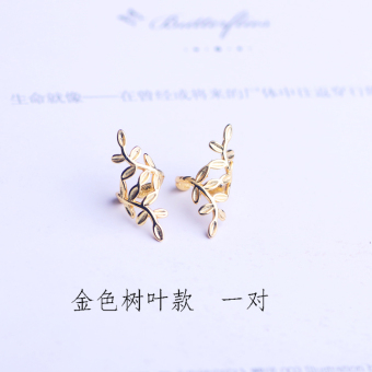 S925 Japan and South Korea sterling silver anti-allergic leaves ear clip