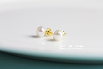 S925 Jianyue female elegant silver earrings Freshwater pearl stud