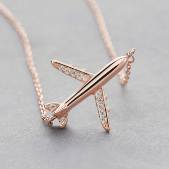S925 Jianyue female three-dimensional small airplane rose gold sterling silver necklace
