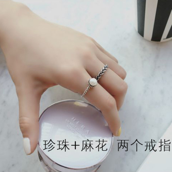 S925 Jianyue sterling silver retro Thai silver woven ring open ring