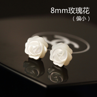 S925 Pearl female shell rose sterling silver stud