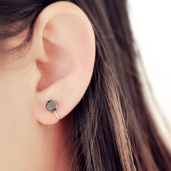 S925 simple black silver elegant stud ear clip