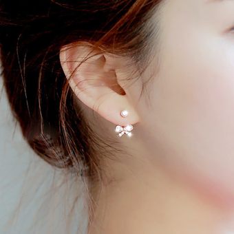 S925 sweet after hanging bow zircon crystal stud hypoallergenic earrings