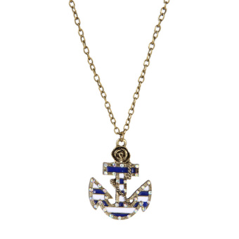 Sailor Necklace Vintage Strip Flower Inlay Crystal Anchor-shaped (Intl)