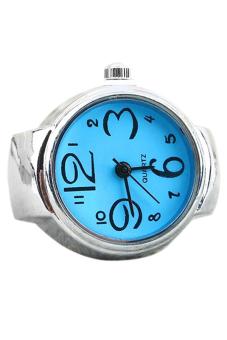 Sanwood Blue Steel Elastic Quartz Finger Ring Watch Blue