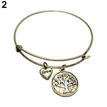 Sanwood(R) Fashion Women Jewelry Love Heart Tree of Life PendantBracelet Charm Bangle (Antique Gold) - intl Price Philippines
