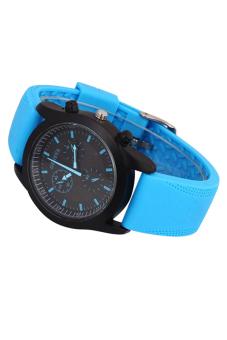 Sanwood Men's Black Dial Blue Rubber Strap Sports Watch