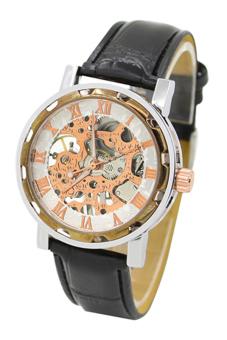 Sanwood Men's Black Faux Leather Strap Watch