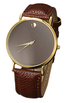 Sanwood Unisex Faux Leather Golden Case Brown Band Wrist Watch