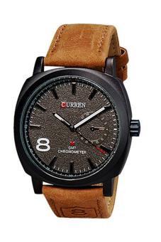 Sanwood Unisex Faux Leather Wrist Watch Black