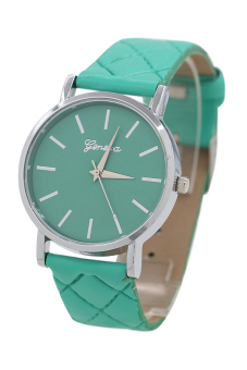 Sanwood Unisex Mint Green Checkers Faux Leather Strap Wrist Watch