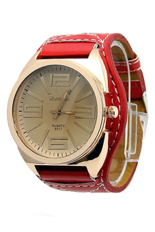 Sanwood Women Stainless Steel Faux Leather Watch Red