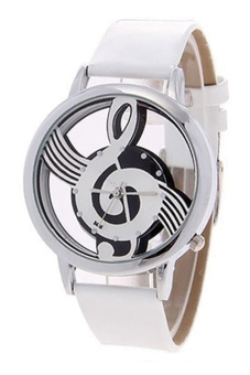 Sanwood(R) Women's Hollow Musical Note Faux Leather Strap Quartz Wrist Watch White