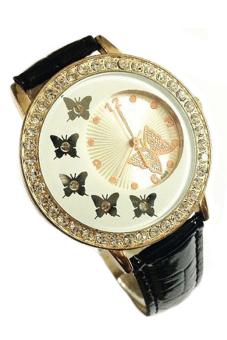 Sanwood Women's Butterfly Crystal Faux Leather Watch Black