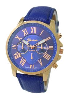 Sanwood Women's Roman Numerals Faux Leather Wrist Watch Dark Blue