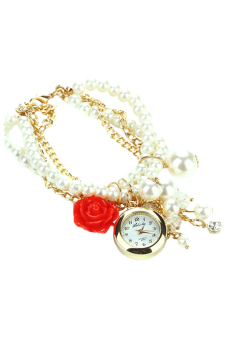 Sanwood Womens Rose Flower Faux Pearl Analog Quartz Wrist Watch Red