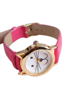 Sanwood Women's Rose-Red Cat Face Beard Alloy Faux Leather Watch