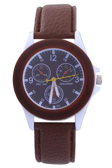 Sanwood Women's Sport Faux Leather Band Quartz Wrist Watch Coffee