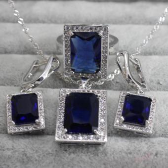 Sapphire Luxury Jewellery Sets 925 Silver Fashion Jewelry 3PCS Necklace Earrings Ring With Rhinestones Crystal Bride Jewelry set  - intl