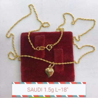 Saudi Gold 100% Authentic 18K Necklace with happy heart Pendant 1.5g