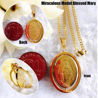 Saudi Gold 18K Authentic Bangkok Gold High Grade Religious Jewelries Necklace with Religious Pendant Miraculous Medal Blessed Virgin Mama Mary Rotating Pendant (Not Pawnable)