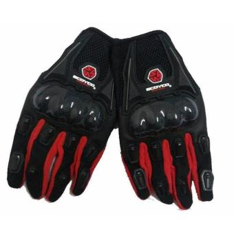 Scoyco MC09 Motorcycle Racing Full-Finger Gloves - Black / RED(Size Large)