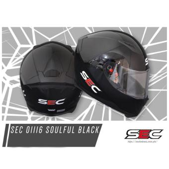 SEC 01116 Soulful Black Full Face Helmet (2017 Collection) - XL