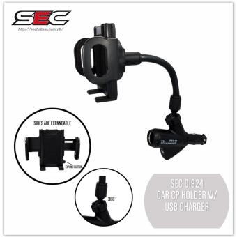 SEC 01924 Car Cellphone Holder With Dual USB 2.1A Charger