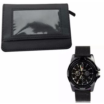 Security Credit Card Wallet (Black) WITH GEMIUS ARMY Military SportStyle Army Men's Black Canvas Strap Watch Price Philippines