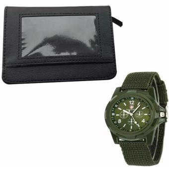 Security Credit Card Wallet (Black) WITH GEMIUS ARMY Military SportStyle Army Men's Green Canvas Strap Watch Price Philippines