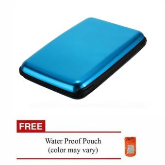Security Credit Card Wallet (Light Blue) Free Waterproof Pouch(Color may vary)