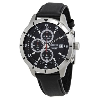 Seiko Quartz Chronograph Black Dial Black Leather Strap Men's Watch SKS571