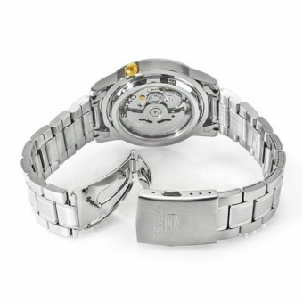 Seiko SNKK07K1 Automatic Silver Stainless Steel White Dial Gold Markings Men's Watch - 3