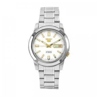 Seiko SNKK07K1 Automatic Silver Stainless Steel White Dial Gold Markings Men's Watch