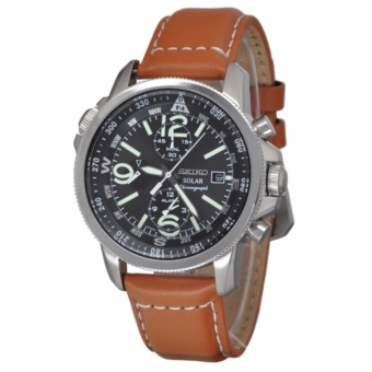 Seiko SSC081P1 Brown Leather Strap Men's Watch - intl