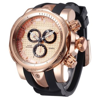 SHHORS 80085 Men Silicone Strap Quartz Sports Watch ( Rose Gold )