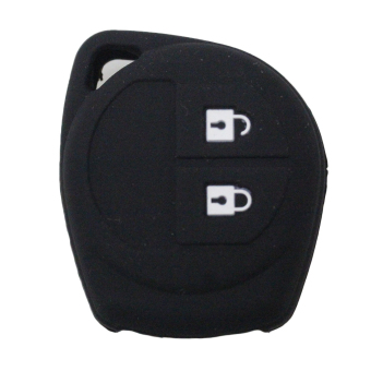 Silicone Key Case Cover Skin Jacket fit for SUZUKI 2 Button RemoteKey 1pc (Black) - Intl