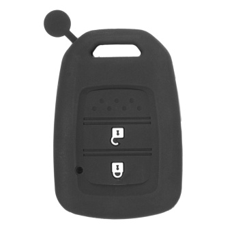 SILICONE KEY COVER FOB SKIN FIT FOR HONDA JAZZ JADE VEZEL HRV CRIDER 2014 2015 (Black) - intl
