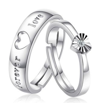 Silver Adjustable Couple Rings Jewelry Affectionate Lovers Rings E003