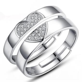 Silver Adjustable Couple Rings Jewelry Affectionate Lovers RingsE026