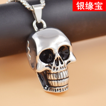 Silver edge treasure cool skeleton skull head men's retro pendant necklace