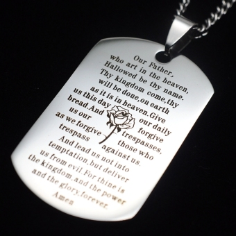 Silver Tone English Our Father Lord's Prayer Dog Tag PendantNecklace 60cm - Intl - 2