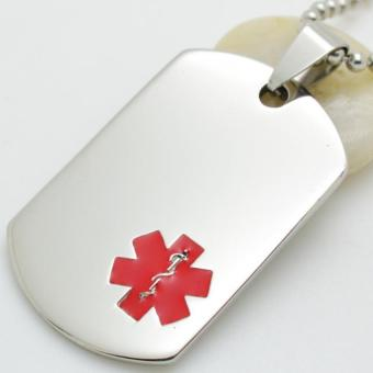 Silver Tone Stainless Steel Red Symbol Medical Alert ID Blank DogTag Pendant Necklace 60CM Long - Intl