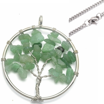"Silver Tone Tree of Life Chakra Round Nature Stone AdventureCrystal Quartz Pendant Necklace SS Curb Chain 24"" Long - Intl Price Philippines"