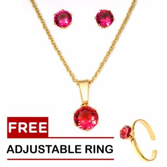 Silverworks 18k Gold Plated January Birthstone Sets with Free Adjustable Ring