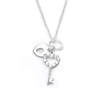 Silverworks N3926 Heart with Key and Lock Design Necklace