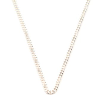 Silverworks N917 Thin Curb Chain Necklace (Silver)