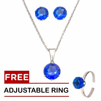 Silverworks September Birthstone Sets with Free Adjustable Ring